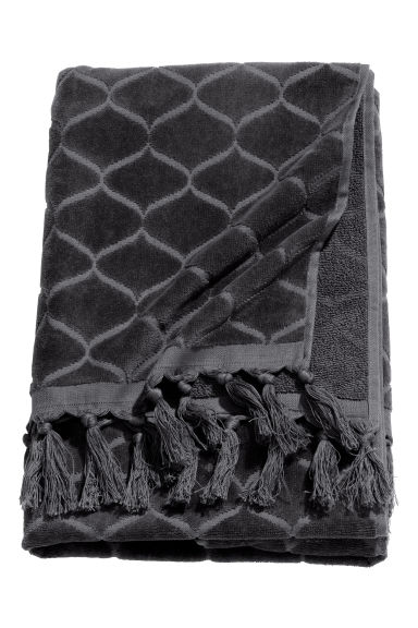 Jacquard-patterned bath towel - Dark grey - Home All | H&M GB