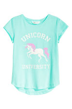 Printed jersey top - Mint green/Unicorn - Kids | H&M CN 2