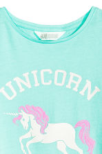 Printed jersey top - Mint green/Unicorn - Kids | H&M CN 3