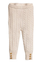 Knitted leggings - Light beige -  | H&M CN 1