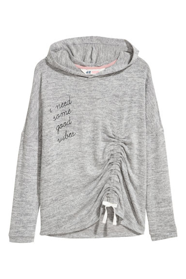 Fine-knit hooded jumper - Light grey marl - Kids | H&M