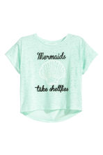 Burnout-patterned T-shirt - Mint green - Kids | H&M CA 2