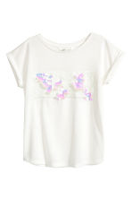 Top with sequins - White - Kids | H&M 3