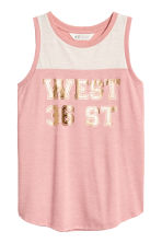 Sleeveless jersey top - Dusky pink -  | H&M 2
