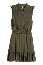 Lace-trim dress - Dark khaki green - Ladies | H&M 2