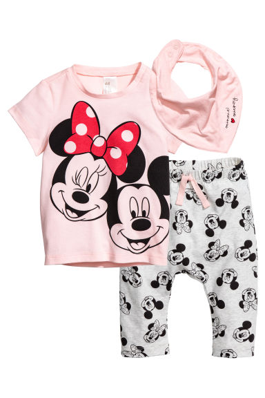 3-piece jersey set - Light pink/Minnie Mouse - Kids | H&M CA