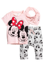 3-piece jersey set - Light pink/Minnie Mouse - Kids | H&M CA 1