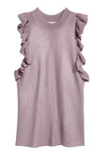 Fine-knit frilled top - Heather purple - Ladies | H&M CN 2