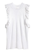 Fine-knit frilled top - White - Ladies | H&M 2