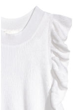Fine-knit frilled top - White - Ladies | H&M CN 3