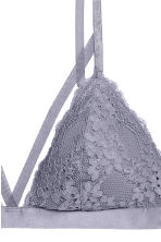 Non-wired lace triangle bra - Blue-grey - Ladies | H&M 3