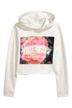 Cropped hooded top - Light beige marl - Kids | H&M CN 2