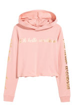 Sweat à capuche court - Rose poudré -  | H&M CH 2