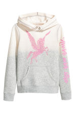 Hooded top with a motif - Light grey/Natural white - Kids | H&M CN 2