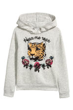 Hooded top with a motif - Light grey -  | H&M 2