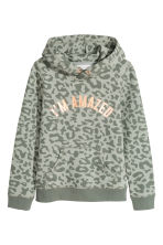 Hooded Sweatshirt with Motif - Khaki green - Kids | H&M CA 2