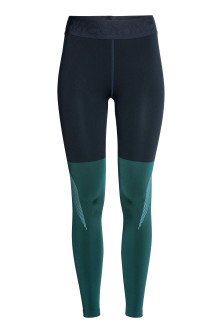 Block-coloured sports tights