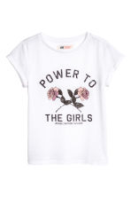 Printed jersey top - White - Kids | H&M CA 2
