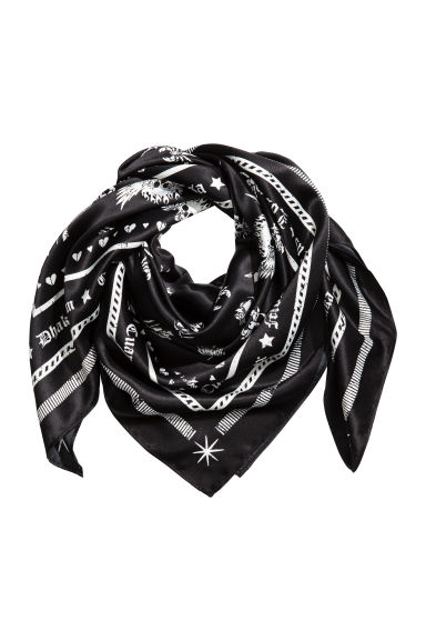 Patterned scarf - Black -  | H&M 1