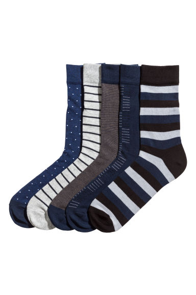 5-pack ribbed socks - Dark blue - Men | H&M 1