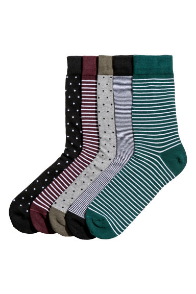 5-pack ribbed socks - Black/Patterned - Men | H&M