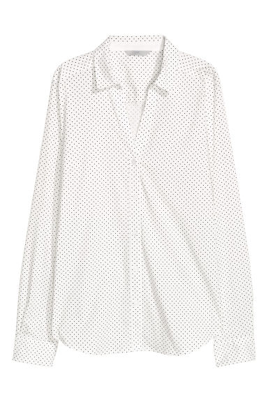 V-neck shirt - White/dotted - Ladies | H&M CA 1