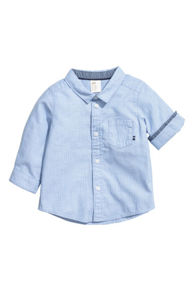 Cotton Shirt - Light blue/ poplin - Kids | H&M CA 1