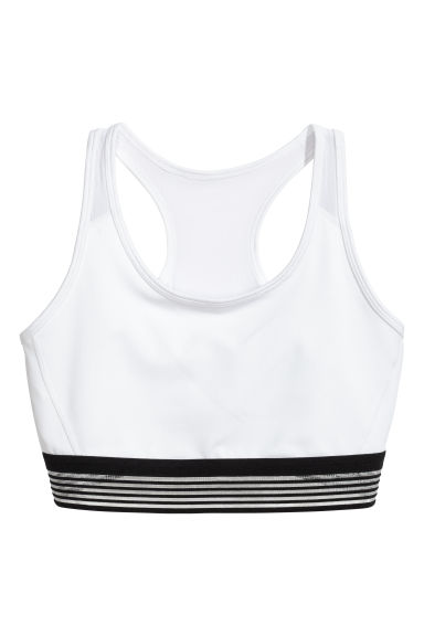 H&M+ Sports bra Medium support - White - Ladies | H&M 1
