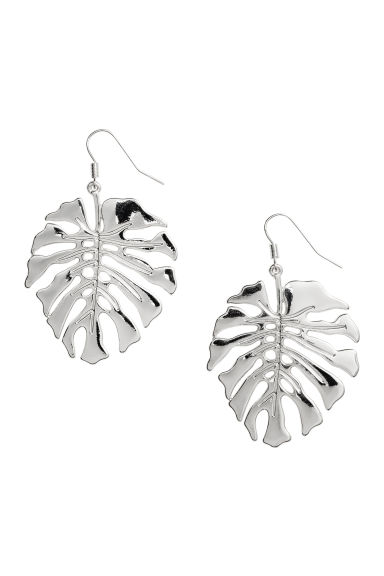 Leaf-shaped earrings - Silver-coloured - Ladies | H&M CN