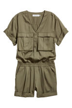 Lyocell-blend playsuit - Khaki green - Ladies | H&M 2