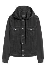 Hooded denim jacket - Black - Men | H&M CN 2