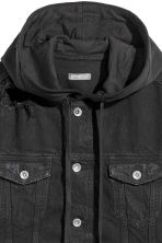Hooded denim jacket - Black - Men | H&M CN 3