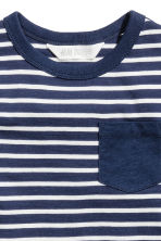T-shirt with a chest pocket - Dark blue/Striped -  | H&M CA 3