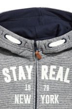 Hooded jacket - Dark blue/striped -  | H&M CA 3
