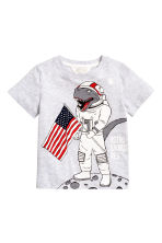 Printed T-shirt - Light grey/Dinosaur - Kids | H&M CN 2