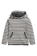 Jersey hooded top - White/Striped -  | H&M 2