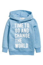Hooded top with a print motif - Light blue -  | H&M 1