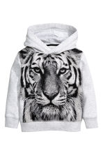 Hooded top with a print motif - Light grey -  | H&M 2
