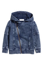 Hooded sweatshirt cardigan - Dark blue washed out -  | H&M 2