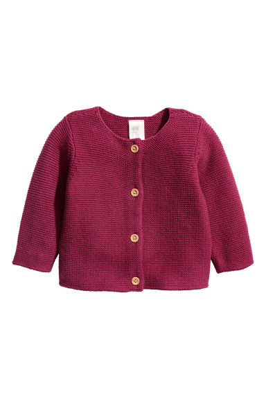 Garter-stitch Cotton Cardigan - Raspberry red -  | H&M CA 1