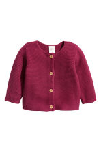 Garter-stitch cotton cardigan - Raspberry red -  | H&M 1
