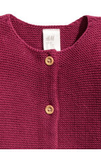 Garter-stitch cotton cardigan - Raspberry red -  | H&M 2