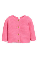 Garter-stitch cotton cardigan - Pink -  | H&M CA 1