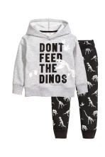 Hooded top and joggers - Grey marl/Dinosaurs -  | H&M 2