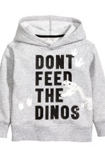 Hooded top and joggers - Grey marl/Dinosaurs -  | H&M 4