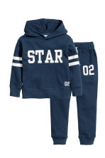 Hooded top and joggers - Dark blue -  | H&M 2