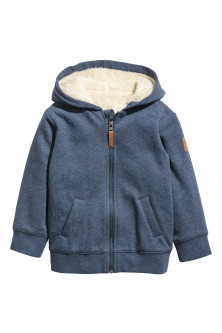 Hooded jacket with pile