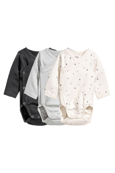 3-pack wrapover bodysuits - Natural white/Grey - Kids | H&M
