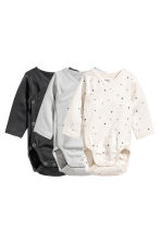3-pack wrapover bodysuits - Natural white/Grey - Kids | H&M 1