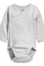 3-pack wrapover bodysuits - Natural white/Grey - Kids | H&M 3